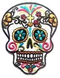 Fleurs colorées modèles de crâne de mode dans la tendance Art Crâne Belle conception Patch ''6.5 x 8.7 cm'' - ...