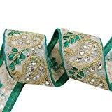 Floral vert Craft Ribbon garniture en tissu 5 cm de large décoratif Sari frontière par les Yd