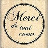 Florilèges Design FB208030 Tampon Scrapbooking Merci de Tout Coeur Beige 4 x 4 x 2,5 cm