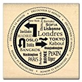 Florilèges Design FE111117 Tampon Scrapbooking de Londres à Tokyo Beige 6 x 6 x 2,5 cm