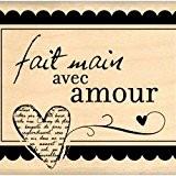 Florilèges Design FE309030 Tampon Scrapbooking Fait Main avec Amour Beige 6 x 8 x 2,5 cm