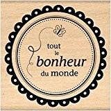 Florilèges Design FF309044 Tampon Scrapbooking Tout le Bonheur du Monde Beige 8 x 8 x 2,5 cm