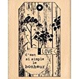 Florilèges Design FG115053 Tampon Scrapbooking Tag Simple Bonheur Beige 10 x 7 x 2,5 cm