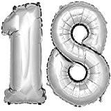 Foil Balloon Nombre 18 en argent 120cm de hauteur hélium numéro ballon Ballon ballon anniversaire anniversaire DekoRex®