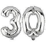 Foil Balloon Nombre 30 en argent 80cm de haut Balloon numéro ballon anniversaire anniversaire DekoRex®