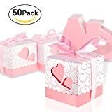 Foonii 50pcs sachets cadeau de mariage découpé au laser avec ruban en soirée, mariage, Chocolat bonbons et boîtes cadeau (rose)