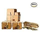 Foonii 50pcs Vintage sachets cadeau dragées de mariage avec décoration en métal, mariage, Chocolat bonbons et boîtes cadeau 6.5cm x ...