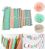 Furuix 26pcs Peach Mint Polka Dot Tissu Or Pom Pom Fleur Tissue Ball Party Décoration Papier Pompom Balles Fête de ...