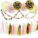 Furuix Lot de 20éléments de décoration en papier de soie Fleurs pompons Guirlandes Pour anniversaire mariage fête de bébé et ...