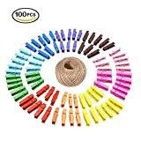 g2plus 100 Clips Photo en bois Pinces à linge colorées vêtir Papier Photo Craft DIY clip avec 20 m Ficelle ...