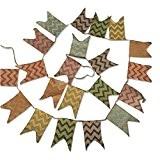 g2plus Lin fanions en toile de jute 3,7m bannière drapeau fanion tissu Guirlandes Drapeaux Triangle Double face Chiffon Vintage Style ...