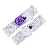 g2plus Lot de 2mariage mariée porte-jarretelles Ceinture porte-jarretelles en dentelle Excellente idée cadeau pour future mariée violet
