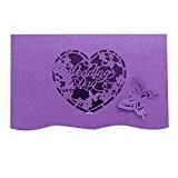 Generic 20pcs Elégante Carte Faire-part Motif Coeur Papillon Découpé Accessoire de Mariage - Violet, 180 * 120mm