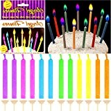 German Trendseller® - 12 x bougies d'anniversaire?flammes colorées?petits bougies? l'anniversaire d'enfant?gâteau l'anniversaire? 12 bougies