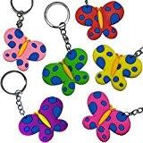 German Trendseller® - 12 x papillons avec pendentifs?porte-clé?petit cadeau?l'anniversaire d'enfant?porte-bonheur? mélange de couleurs ?gommeuse