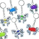 German Trendseller® - 12 x porte-clés chevaux?pendentif bijoux ?pour enfants? petit cadeau?l'anniversaire d'enfant? en optique argent? mélange de couleurs