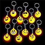 German Trendseller® - 12 x porte-clés emojis?LED ?lumière clignotante?emoticons? icons? drôle face ?smiley ?l'anniversaire d'enfant?petit cadeau?80's style?6 psc