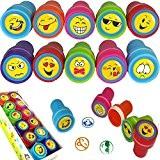 German Trendseller® - 12 x tampons à encre avec emojis?happy faces?smileys? drôle visages? l'anniversaire d'enfant?idée cadeau? 12 pcs