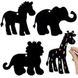 German Trendseller® - 24 x feuilles à gratter?motif d'animaux safari?avec des crayons à gratter et des attaches?couleurs d'arc en ciel?idèal ...