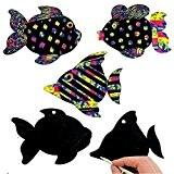 German Trendseller® - 24 x feuilles à gratter?motif de poissons?avec des crayons à gratter et des attaches?couleurs d'arc en ciel?idèal ...