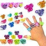 German Trendseller® - 6 x bagues sur la carte? bijoux pour enfants?petit cadeau ?l'anniversaire d'enfant ?mélange de couleurs