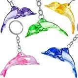 German Trendseller® - 6 x porte-clés dauphin?pendentif bijoux? en optique cristal ?mélange de couleurs? petit cadeau?l'anniversaire d'enfant