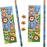 German Trendseller® - set papeterie des animaux de jungle ?crayon + autocollantes + gomme?petit cadeau? l'anniversaire d'enfant