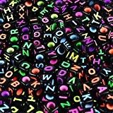 Goodlucky365 500 Perles Lettre Alphabet A-Z Cubes Noires Plastique en Acrylique, Taille 6x6mm Enfilage Facile, Fabrication de Bracelets Colliers Bijoux ...