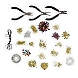 Grand kit de fabrication de bijoux de 1000 pièces pour débutants - pinces, fermoirs, perles, cordons, fil de fer et ...