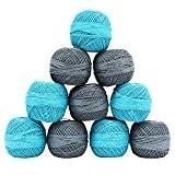 Gris Bleu 10 Pcs en coton mercerisé à tricoter fil à crocheter Skein Spun pelote