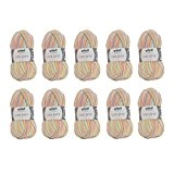 Grundl - 10 pelotes de laine à tricoter Grundl LISA Print - 54 - 100% acrylique - 755-54