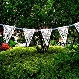 Guirlande de Fanion Bannière Banderole Décor Suspendu de Mariage Blanc