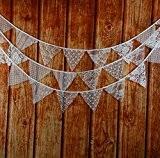 Guirlande de Fanions Bannière Banderole en Dentelle Décoration pour Fête de Mariage Photo Prop Blanc