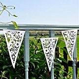 Guirlande de Fanions Bannière Banderole Motif de Fleurs Ajouré Décoration pour Fête Mariage Blanc