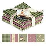 Gutermann Vero & # 39?; S monde Cottage Country Chic matelassé en tissu Fat Quarter Bundle Vert & Rose-par lot ...