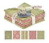 Gutermann Vero & # 39?; S WORLD Lizzy & # 39?; S GARDEN Coupons Fat Quarter Tissu Bundle Vert & ...