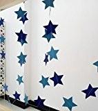 hangnuo 4M šŠtoiles guirlande en papier pour mariage anniversaire fšºte No?l filles Chambre DšŠcoration, Papier, bleu, Large Stars