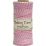 Hemptique Coton Bakers Twine Bobine 2 Plis 410 Pieds/Pkg-Light Pink/White