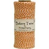 Hemptique Coton Bakers Twine Bobine 2 Plis 410 Pieds/Pkg-Orange/Blanc