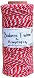 Hemptique coton Bakers Twine bobine 2 plis 410 pieds/Pkg-rouge/blanc