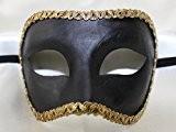 Homme Noir fait main traditionnel colomina Demi Visage vénitien Mascarade Masque avec bordure or tressé