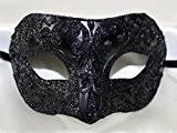 Homme Noir Intense Demi Visage Colombina vénitien Mascarade Masque en paillettes scintillantes
