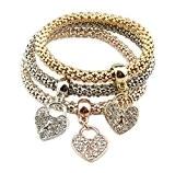 Hosaire 3Pcs/Lot Femme Bracelet Conception En forme de coeur Trois couches de chaîne épaisse éclat strass Bijoux cadeau de l'amour