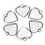 HOUSWEETY 10 Pcs Breloque Pendentif Coeur Support pour Cabochon en Acier Inoxydable pour Creation de Bijoux