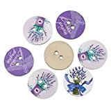 HOUSWEETY 50 Boutons Bois Lavande libellule Nature Pr Creation DIY 24mm