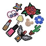 HOUSWEETY Brode Patch Thermocollant Sequins DIY Broderie Badge Autocollant Chapeau Vetements Chaussures Emballage Appliques en Tissu Decoration