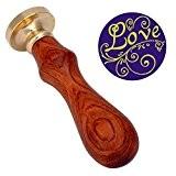 """HOUSWEETY Cachet Sceau Tampon Batonnet Vintage """"LOVE"""" en Laiton et Bois Cire pour Lettre Courrier"""