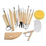 Hrph 19pcs Kit DIY Outils de Poterie Sculpture Argile Modelisation Lissage Cire Crafts Polymer Clay en Bois