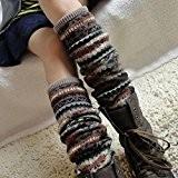 HuaYang Fashion longue chaussette des femmes collant jambière tricoté d'hiver(Kaki)