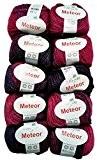 ilkadim 10x 50g Meteor coton pour tricot et crochet avec paillettes couleur 400-09, composé de 77% acrylique, 15% paillettes et ...